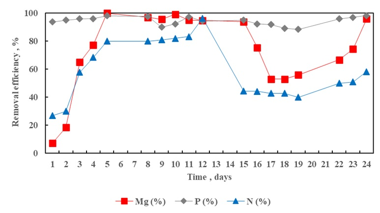 Figure 3  -N removal efficiency by the FBHC reactor