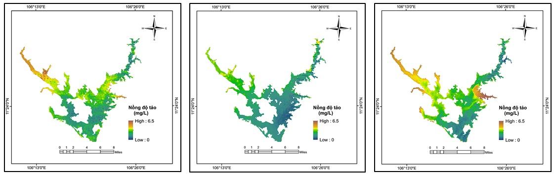Figure 9  Mô phỏng phân bố không gian nồng độ tảo lam (mg/L) trên hồ Dầu Tiếng vào các thời điểm ảnh: a, 27/11/2012; b, 26/01/2013; c, 27/02/2013.