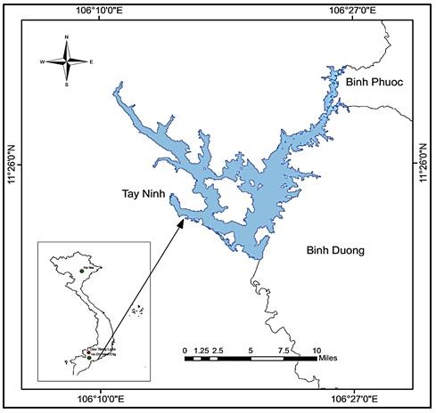 Figure 1  Vị trí địa lí hồ Dầu Tiếng