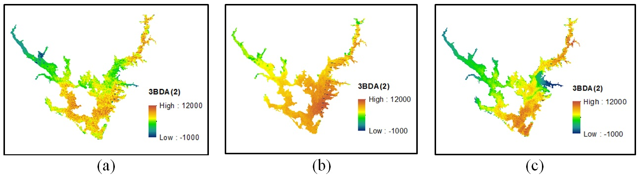 Figure 7  Kết quả định tính theo thuật toán 3BDA(2): a, Ngày 27/11/2012; b, Ngày 26/01/2013; c, Ngày 27/02/2013.