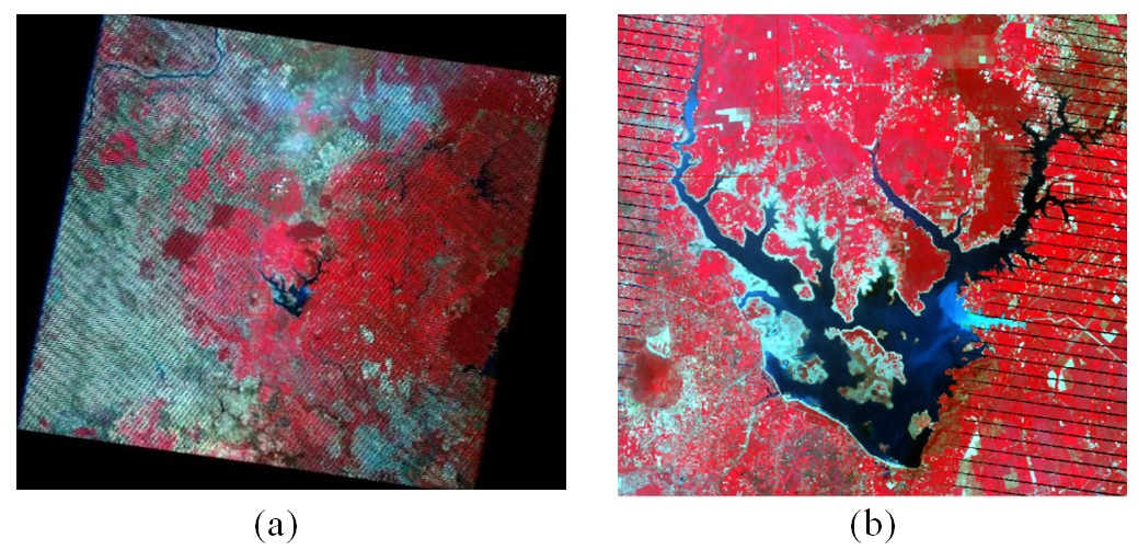 Figure 3  Ảnh Landsat 7 toàn cảnh có chứa hồ Dầu Tiếng ở tâm ảnh (a) và cắt nhỏ ngay khu vực hồ (b)
