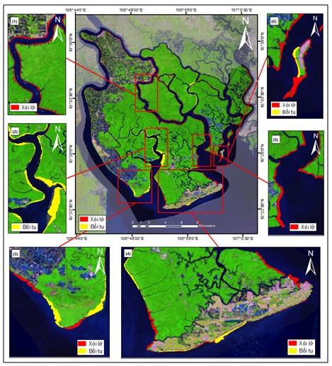 Figure 3  Bản đồ xói lở - bồi tụ khu vực huyện Cần Giờ giai đoạn 1998 - 2019