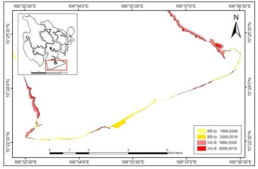 Figure 9  Biến động đường bờ khu vực bờ biển Cần Giờ giai đoạn 1998 - 2019