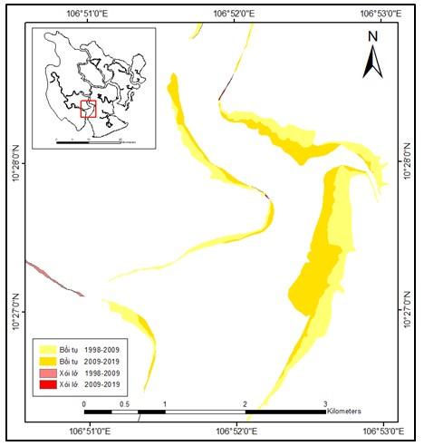 Figure 6  Diễn biến bồi tụ khu vực sông Đồng Tranh giai đoạn 1998 - 2019