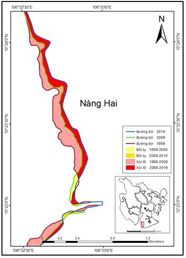 Figure 11  Biến động đường bờ khu vực rừng ngập mặn Nàng Hai giai đoạn 1998 - 2019