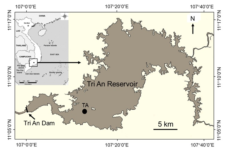 Figure 1  Map of the Tri An Reservoir with sampling location (TA).