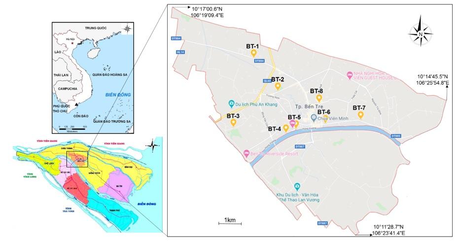Figure 1  Bản đồ các các vị trí quan trắc sinh học toàn trỉnh Bến Tre