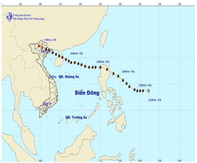 Figure 3  Track of typhoon Kalmaegi-14