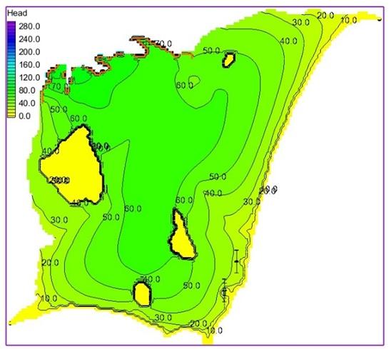 Figure 5  Bản đồ đẳng cao độ mực nước (mô hình trạng thái ổn định)
