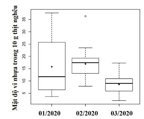 Figure 11  So sánh mật độ vi nhựa trong 10 g thịt nghêu trong 3 tháng thu mẫu