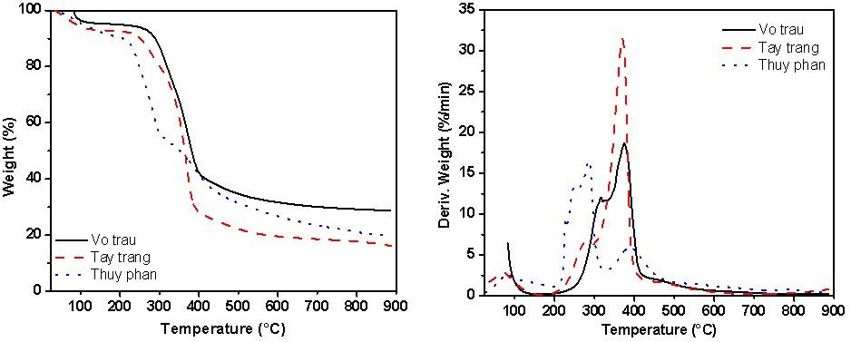 Figure 6  Giản đồ TGA và DTG của các mẫu vỏ trấu thô, tẩy trắng và thủy phân