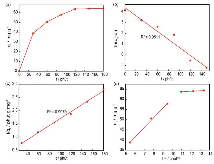 Figure 4  (a) Ảnh hưởng của thời gian đến khả năng hấp phụ curcumin lên nano MIL-100 (Fe). (b) mô hình động học giả bậc 1. (c) mô hình động học giả bậc 2. (d) động học khuếch tán nội bào của quá trình hấp phụ curcumin lên nano MIL-100 (Fe)