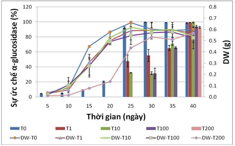 Figure 3  Đồ thị thể hiện sự ảnh hưởng của nồng độ tyrosine đến khối lượng khô (DW) và hoạt tính ức chế α-glucosidase của rễ tơ Ké hoa đào. T0, T1, T10, T100, T200 là phenylalanine ở các nồng độ 0, 1, 10, 100, 200 µM