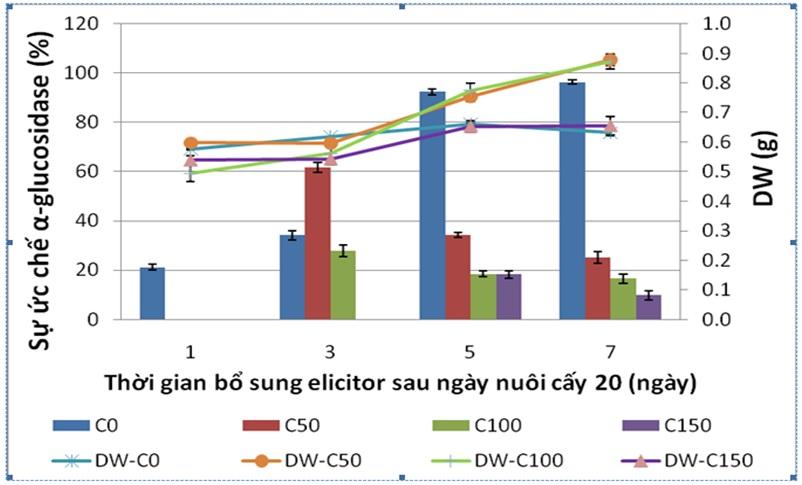 Figure 5  Đồ thị thể hiện sự ảnh hưởng của nồng độ chitosan đến khối lượng khô (DW) và hoạt tính ức chế α-glucosidase của rễ tơ Ké hoa đào. C0, C50, C100, C150 là chitosan ở các nồng độ 0, 50, 100, 150 mg/L