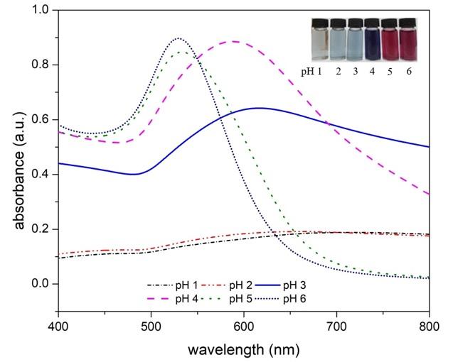 Figure 1  Phổ hấp thu UV-Vis của những mẫu nano vàng được tổng hợp với 5 mL chitosan 0,06 % (w/v) tại các giá trị pH khác nhau (từ 1 đến 6)