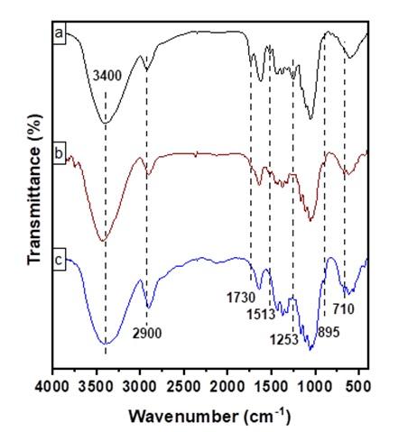Figure 2  Phổ FTIR của mẫu dừa nước thô (a), cellulose (b) và CNCs (c)
