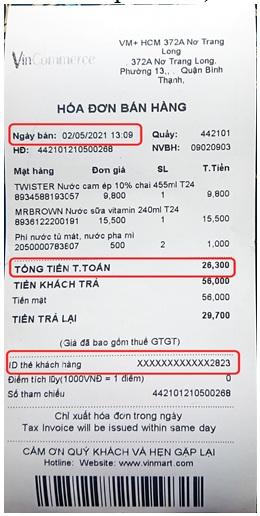 Figure 3  Một hóa đơn bán hàng tại cửa hàng bán lẻ tại Việt Nam