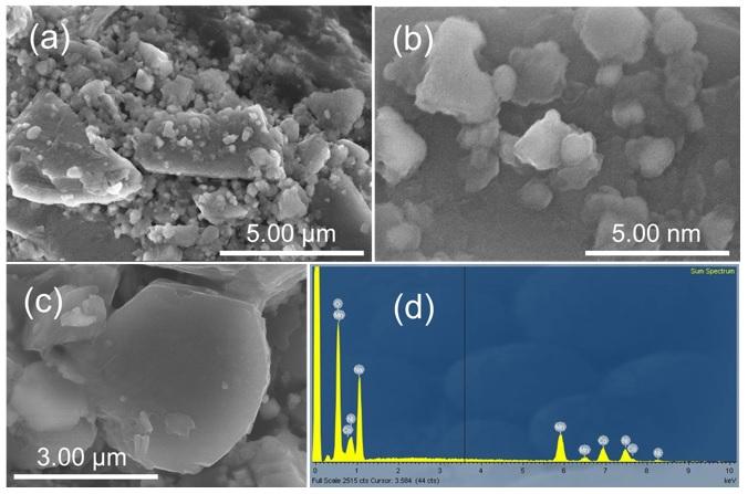 Figure 2  Ảnh SEM (a-c) và phổ EDX (d) của vật liệu tổng hợp