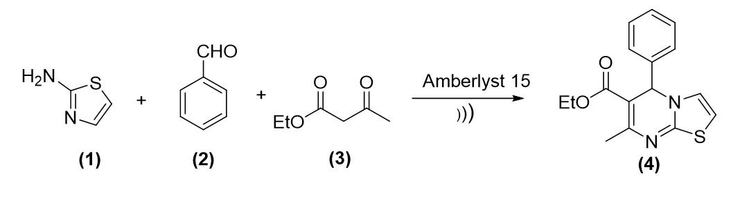 Figure 1  Phản ứng Biginelli giữa 2-aminothiazole, benzaldehyde và ethyl acetoacetate