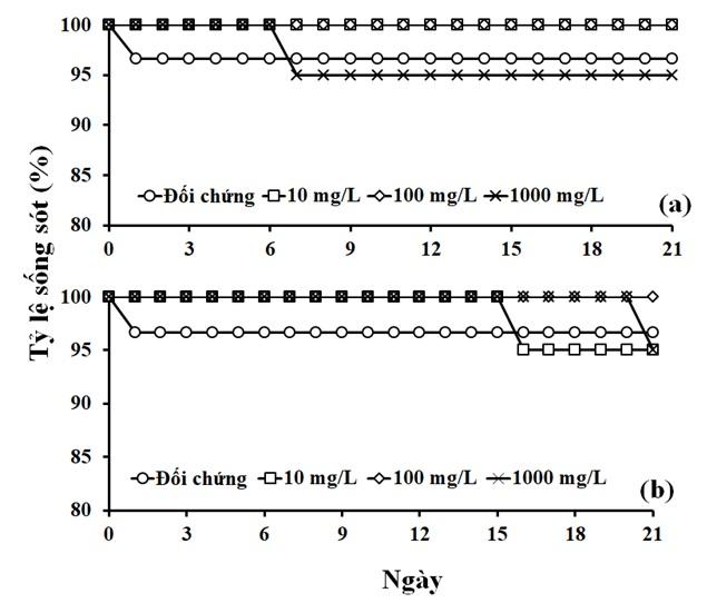 Figure 2   trong phơi nhiễm với nước rỉ nhựa từ túi đựng rác (a) và áo mưa sử dụng một lần (b).