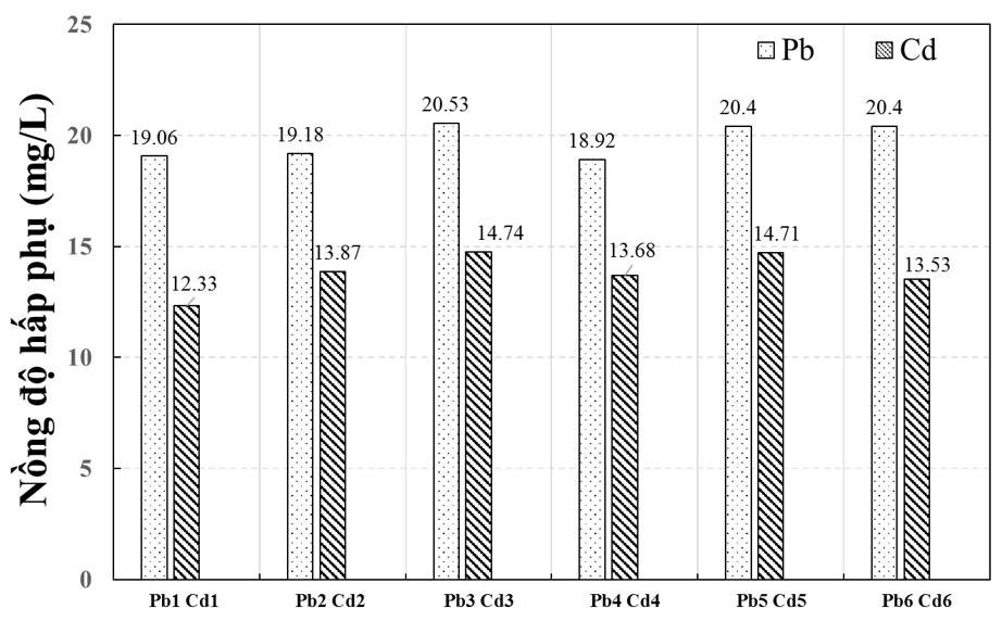 Figure 8  Nồng độ các ion kim loại nặng bị silica hấp phụ theo thời gian